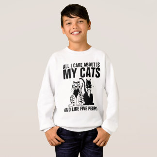 Funny Cat T-shirts for kids ,ALL I CARE ABOUT IS