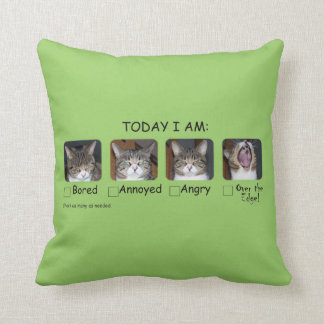 Funny Cat Throw Pillow Mood Meter