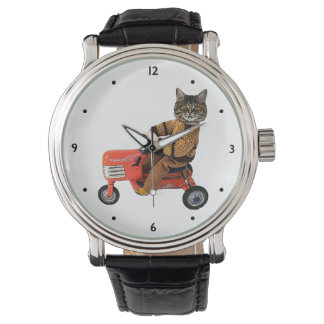 Funny Cat Tractor Watch