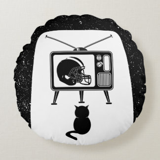 Funny cat watching American football Round Pillow