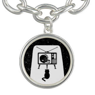 Funny cat watching football charm bracelets