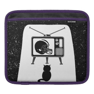 Funny cat watching football iPad sleeve