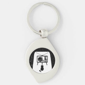 Funny cat watching football keychain