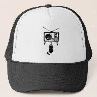 Funny cat watching football trucker hat