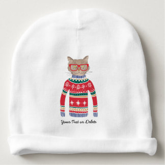 Funny Cat Wearing Glasses, Ugly Christmas Sweater Baby Beanie