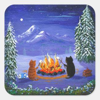 Funny Cat Winter Cartoon Creationarts Square Sticker