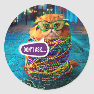 Funny Cat with Colorful Beads at Mardi Gras Classic Round Sticker