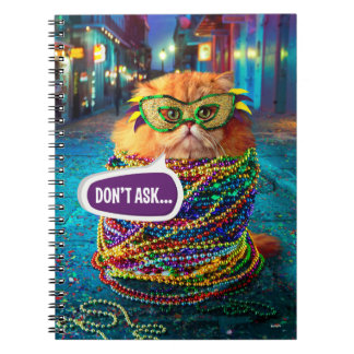 Funny Cat with Colorful Beads at Mardi Gras Notebooks