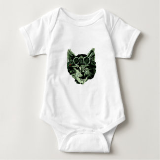 Funny Cat with Glasses Baby Bodysuit