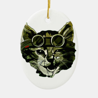 Funny Cat with Glasses Ceramic Oval Ornament
