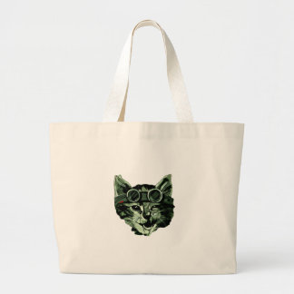 Funny Cat with Glasses Large Tote Bag