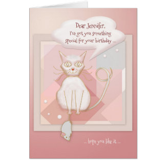 Funny Cat with Mouse Birthday Card