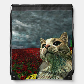 """Funny Cat """"Wizard of Oz"""" Baum Drawstring Backpack"""