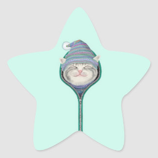 Funny Cat Zipper Fur Cap Sticker
