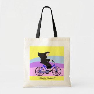 "Funny Catholic Nun Jubilee Gifts ""Nun on a Bike"" Tote Bag"