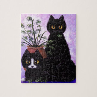 Funny Cats Black Tuxedo Creationarts Jigsaw Puzzle