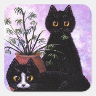 Funny Cats Black Tuxedo Creationarts Square Sticker