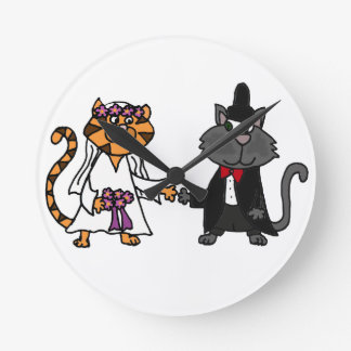 Funny Cats Bride and Groom wedding Art Wallclocks