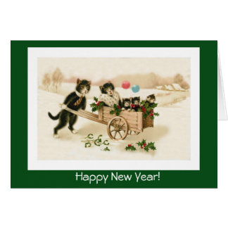 Funny Cats Customizable Vintage New Year's Card
