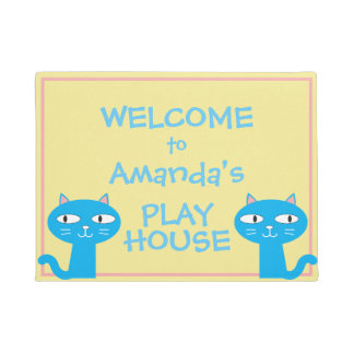 Funny Cats Girls Playhouse Welcome Doormat