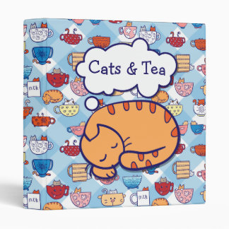 Funny cats in cups binder editable text