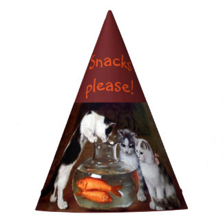 Funny Cats party hat Goldfish Snacks please!