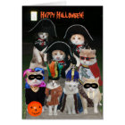 Funny Cats Prowling on Halloween Card