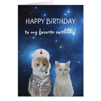 Funny Cats UFO Birthday Card