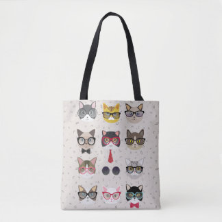 Funny Cats with Glasses All-Over-Print Tote Bag