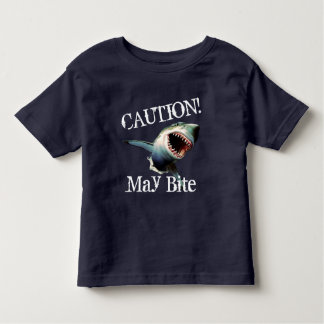 "Funny ""Caution! May Bite"" with Scary Shark Toddler T-shirt"