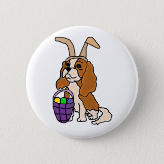 Funny Cavalier King Charles Spaniel Easter Art 2 Inch Round Button
