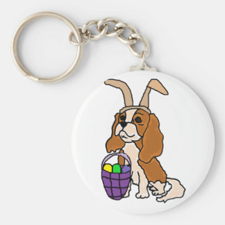 Funny Cavalier King Charles Spaniel Easter Art Basic Round Button Keychain