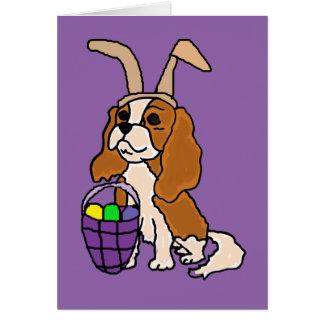 Funny Cavalier King Charles Spaniel Easter Art Card