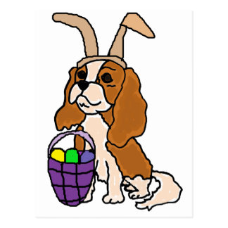 Funny Cavalier King Charles Spaniel Easter Art Postcard