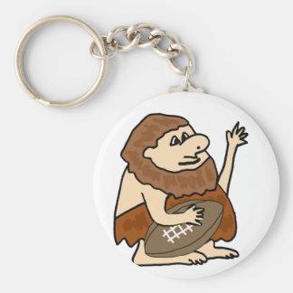 Funny Caveman with Football Cartoon Basic Round Button Keychain