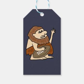 Funny Caveman with Football Cartoon Gift Tags