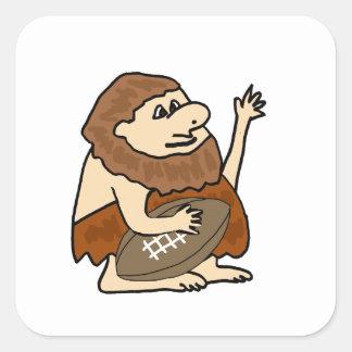 Funny Caveman with Football Cartoon Square Sticker