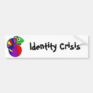 Funny Chameleon on Beach Ball Identity Crisis Bumper Sticker