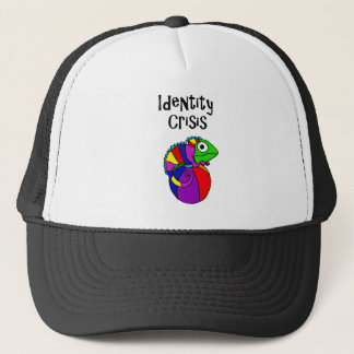 Funny Chameleon on Beach Ball Identity Crisis Trucker Hat