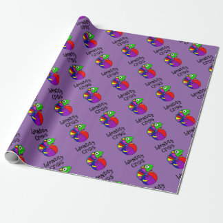 Funny Chameleon on Beach Ball Identity Crisis Wrapping Paper
