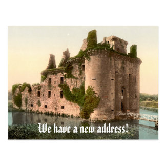 Funny change of address with castle postcard