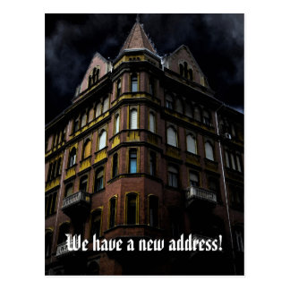Funny change of address with haunted house postcard