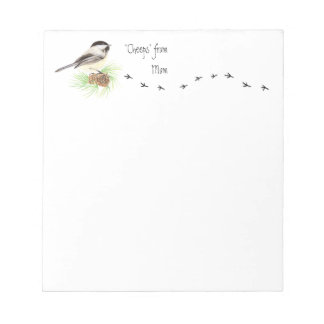 "Funny ""Cheeps from Mom"" Chickadee, Bird Tracks Notepad"