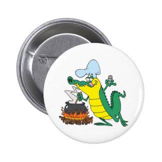 funny chef cooking gator alligator cartoon 2 inch round button