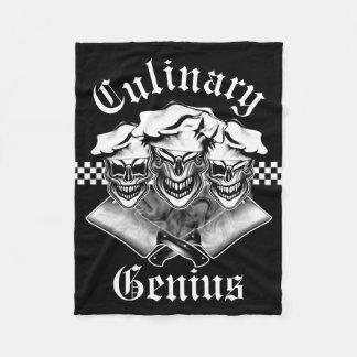 Funny Chef Skull Trio: Culinary Genius Fleece Blanket
