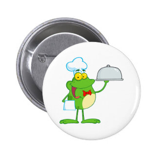 funny chef waiter froggy frog serving food 2 inch round button