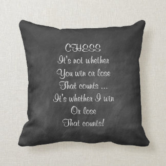 Funny chess joke gifts chalkboard throw pillow