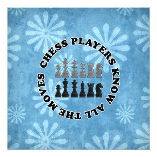 Funny Chess Players Know All the Moves Invitations