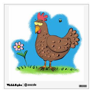 Funny chicken cartoon wall decal