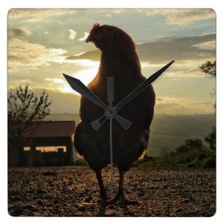 Funny Chicken in backlight Square Wall Clock